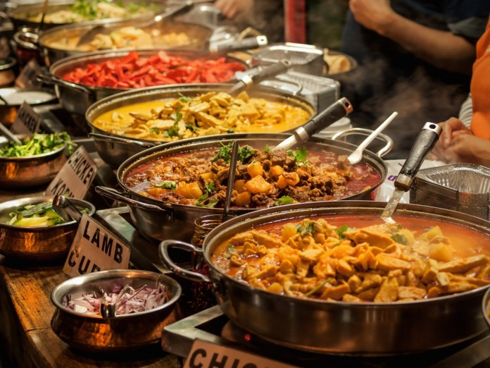 Indian takeaway at a London's market