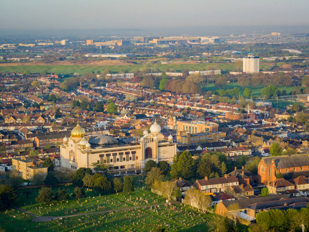 Aerial View, Southall, London, UK