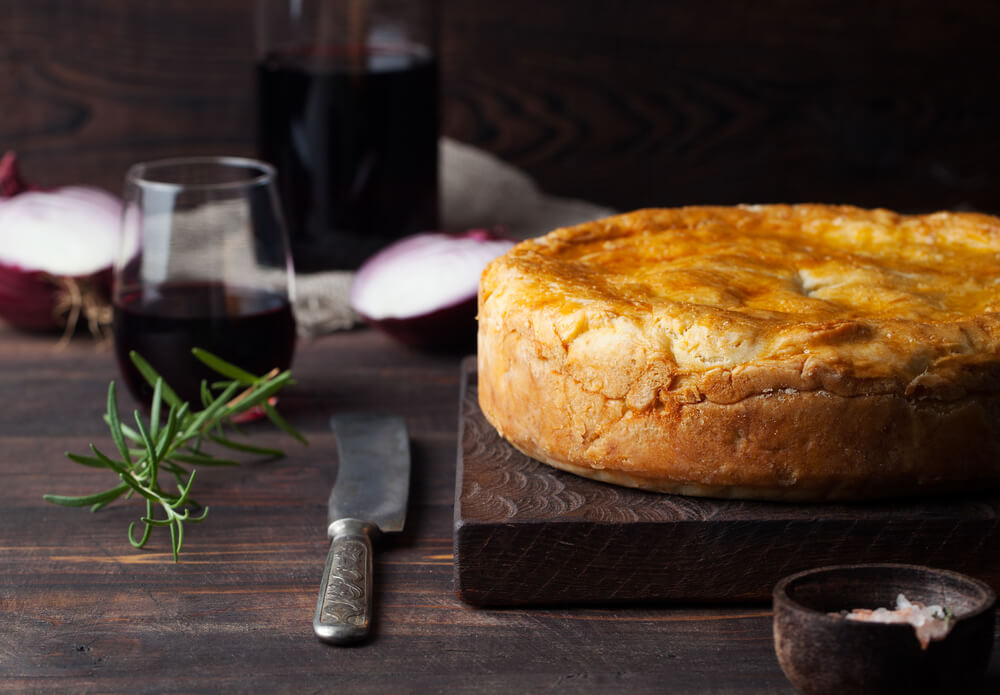 Pot Meat Pie with wine